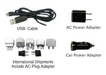 Power from Car power, AC, or USB