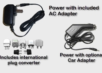 Operates from AC or optional Car Adapter