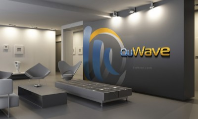 QuWave Logo in Lobby