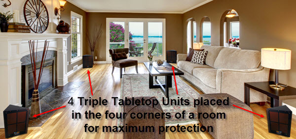 Four triple tabletops in 4 corners of room