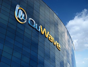 QuWave Logo on Building