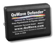 Buy Personal Defender QWX1 for electronic harassment protection