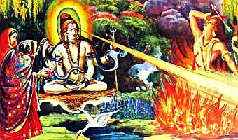 Lord Shiva with death ray from third eye