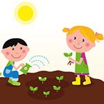 QuWave Kids planting a spring garden